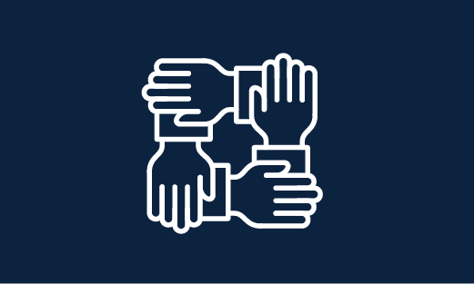 blue rectangle with white icon of four hands holding onto each other