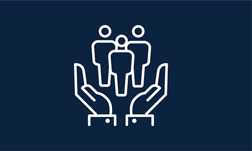blue rectangle with white icon of hands holding up a group of people